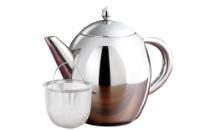 Rosenstein & Söhne Kanne Edelstahl Edelstahl-Teekanne mit Siebeinsatz, 1 Liter, spülmaschinenfest (Teekanne, auch als Kaffeekanne verwendbar)