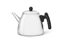 doppelwandige Teekanne Duet® classic Edelstahl glänzend schwarze Beschläge 1,2 ltr.